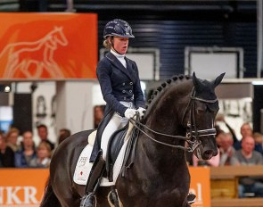 Dark Pleasure at an exhibition show during the 2018 KWPN Stallion Licensing :: Photo © Dirk Caremans
