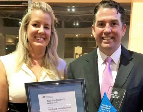 First Point Animal Services Managing Director Chris Burke and Dr Amy Little from the Dept of Agriculture and Water Resources who nominated First Point for the Award