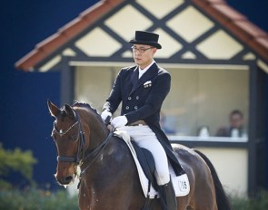 Dong Seon Kim on his small tour horse Schone Zeit at the 2018 CDI Hagen :: Photo © Astrid Appels