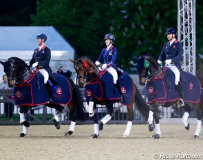 Hester, Dujardin and Hughes in the lap of honour for the 2018 CDI Windsor Grand Prix Kur :: Photo © Risto Aaltonen