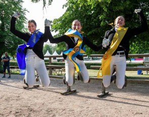 Junior medalists Ellen Linden Urnes, Felicia Olofsson, Linnea Holmgren at the 2018 Swedish Dressage Championships :: Photo © Ronald Thunholm