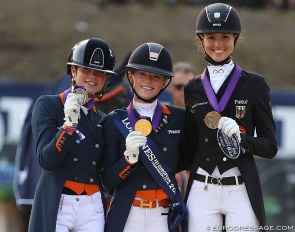 Febe van Zwambagt, Esmee Donkers, Lia Welschof win the Individual test medals at the 2018 European Young Riders Championships :: Photo © Astrid Appels