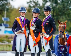 The Short Grand Prix test podium at the 2018 European Under 25 Championships: Charlotte Fry, Jil-Marielle Becks and Victoria Vallentin :: Photo © Digishots
