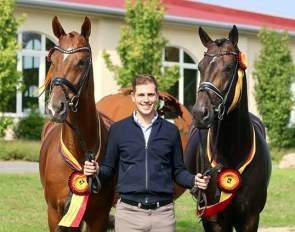 Frederic Wandres with Hof Kasselmann's PSI Auction horses and Bundeschampions Bitcoin and Zucchero