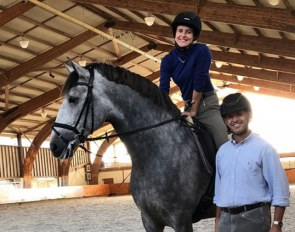 Sarah Warne on Iota with trainer Miguel Ralao by her side