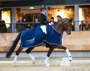 Renate van Uytert-Van Vliet on In Style at the 2018 KWPN Stallion Competition in Ermelo :: Photo © Digishots