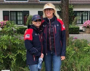 Charlotte Bredahl (right) takes over the baton from Debbie McDonald (left) as USEF Dressage Development Coach
