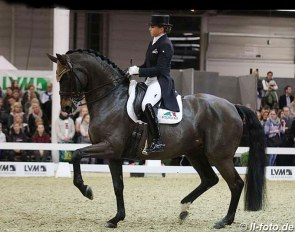 Dorothee Schneider and Fohlenhof's Rock 'n Rose at the 2019 CDN Munster Indoor :: Photo © LL-foto