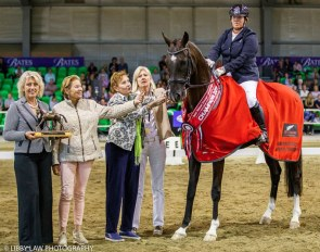 Judge Maja Stukelj (second left) with the 2019 New Zealand Young Horse Champion of Champions: Quendrix :: Photo © Libby Law