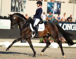 Dinja van Liere and Hermes at the 2018 World Young Horse Championships :: Photo © Astrid Appels