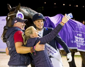 Celebrating with a selfie! Denmark's Daniel Bachmann Andersen pictured with his wife Tiril Bachmann Anerud and Robbie Sanderson after winning the tenth and last leg of the FEI Dressage World Cup™ 2018/2019 Western European League at 's-Hertogenbosch (NED) with Blue Hors Zack :: Photo © Leanjo de Koster)