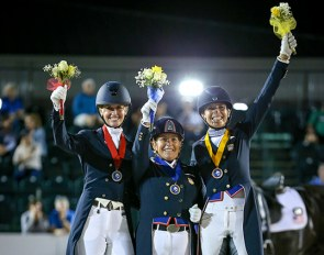 Losos de Muniz, Francis and Jorst on the individual podium at the 2019 CDIO Wellington :: Photo © Sue Stickle