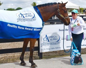 Diana Zakharova and Toress win the Omega Alpha Healthy Horse Award at AGDF CDI 7 2019