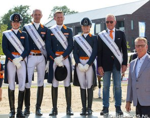 Team Holland with Scholtens, Minderhoud, Gal and Meulendijks win the 2019 CDIO Geesteren Nations Cup. Team captain Alex van Silfhout and sponsor Lens Nekeman flank them :: Photo © Digishots