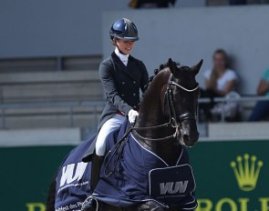 Charlotte Fry and Glamourdale win the Prix St Georges at the 2019 CDIO Aachen :: Photo © Astrid Appels