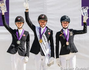 The Kur Podium with Nielsen, Helgstrand and Benner at the 2019 European Pony Championships :: Photo © Lukasz Kowalski