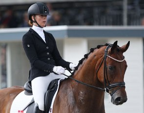 Camilla Ahlers Pedersen and CVL Horse's Soegaards Bon Royal at the 2019 World Championships for Young Dressage Horses :: Photo © Astrid Appels