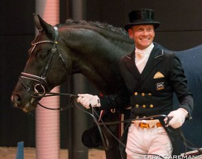 Edward Gal and Totilas reunited at the 2019 KWPN Stallion Licensing in 's Hertogenbosch :: Photo © Dirk Caremans