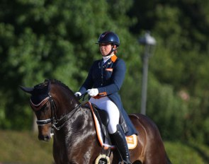 Jasmien de Koeyer and Esperanza at the 2019 European Under 25 Championships in Italy :: Photo © Astrid Appels
