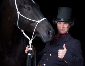 Tristan Tucker, here typecast as Brett Kidding, is the star dressage presenter at 2019 Equitana Auckland