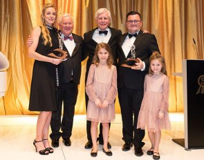 Vivian Schockemöhle, Ullrih Kasselmann, Paul Schockemöhle, Francois, Emma & Lilly Kasselmann with the life time achievement award at the 40th P.S.I. Auction Gala