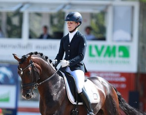 Beatrice Buchwald and Den Haag at the 2014 World Young Horse Championships in Verden :: Photo © Astrid Appels