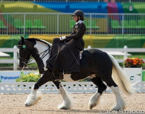 Belgian Grade II para rider Barbara Minecci on Barilla at the 2016 Paralympics in Rio :: Photo © Jon Stroud