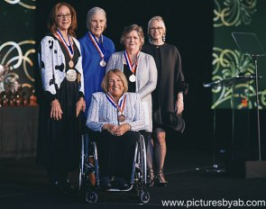 Hope Hand (Front Center) receiving her Pegasus Medal of Honor at the U.S. Equestrian Federation Annual Meeting in West Palm Beach, Florida, January 10, 2020 :: Photo © Adam Brennan