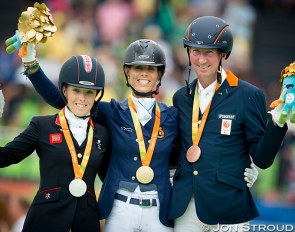 Sophie Wells, Michele George and Frank Hosmar on the podium at the 2016 Paralympics in Rio :: Photo © Jon Stroud