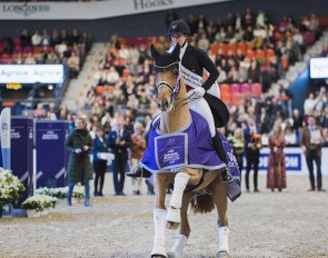 Dufour and Atterupgaards Cassidy stole Swedish hearts when winning tonight's tenth leg of the FEI Dressage World Cup™ 2019/2020 Western European League at the Scandinavium Arena in Gothenburg (SWE) :: Photo © Satu Pirinen)