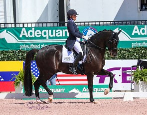 Ashely Holzer (USA) and Mango Eastwood recover their composure after an early stumble to claim the FEI Grand Prix Special CDI3*, presented by Peacock Ridge, with 72.596%. ©️Susan Stickle.