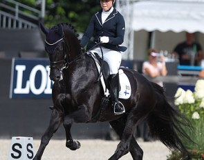 Yvonne Osterholm and Ironman H at the 2019 World Young Horse Championships :: Photo © Astrid Appels