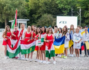 The Hungarian children and juniors at the opening ceremony of the 2020 European Youth Championships in Budapest, Hungary :: Photo © Lukasz Kowalski