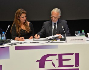 At the 2013 FEI General Assembly in Montreux then FEI President Princess Haya and IFHA Chairman Louis Romanet sign the agreement to establish the International Horse Sports Confederation