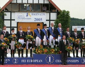 The team podium at the 2005 European Dressage Championships in Hagen :: Photo © Astrid Appels