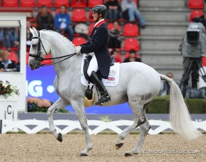 Michael Eilberg and Half Moon Delphi at the 2013 European Dressage Championships :: Photo © Astrid Appels