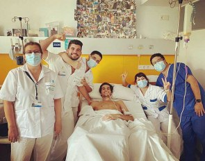 Juan Matute Guimon after three operations and one month of induced coma at the Jiménez Díaz Hospital in Madrid