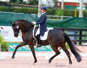 Pia Fortmuller and Frieda win the national show series for Developing PSG Horses in Wellington :: Photo © Sue Stickle