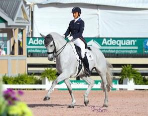 Adrienne Lyle and Harmony's Duval at the 2021 CDI-W Wellington :: Photo © Sue Stickle