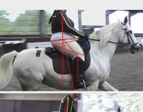 Riding in a saddle that was too small influenced the position and balance of riders VH (top) and H (bottom)