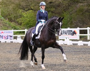 Sarah Cheetham of Flying Changes, riding Stoiber's Black Pearl (by Stoiber N x Sir Donnerhall I)