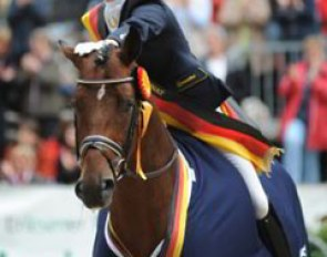 Anna Sophie Fiebelkorn and Imperio win the 5-year old division at the 2008 Bundeschampionate :: Photo © Barbara Schnell