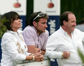 Morgan Barbancon's mother Carmen and father Thierry watching her ride together with Spanish Grand Prix rider Jordi Domingo