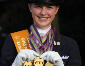 Sanneke Rothenberger wins triple gold at the 2009 European Junior Riders Championships :: Photo © Barbara Schnell