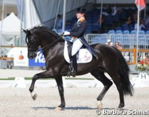 The 19-year old stallion Incredible, ridden on these European Championships by the Dutch Michelle van Lanen, has already participated in no less than eight European Championships, representing The Netherlands - a unique record!