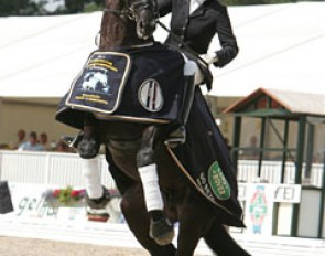 A playful Westpoint took advantage of the award ceremony to test his rider and buck and bop around a bit. Scholtens couldn't be shaken and stayed fixed in the saddle of her steed.