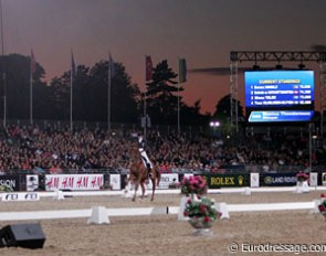 Arena by sunset at the 2009 European Dressage Championships in Windsor
