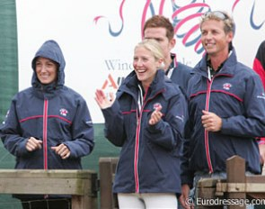 British team members Maria Eilberg, Laura Bechtolsheimer and Carl Hester were rooting for Emma.