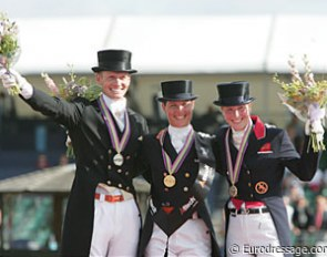 The Grand Prix Special podium at the 2009 European Championships: Edward Gal (silver), Adelinde Cornelissen (gold), Laura Bechtolsheimer (bronze) :: Photo © Astrid Appels