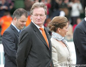 Frank Kemperman, chair of the FEI Dressage Task Force, standing next to FEI president Princess Haya